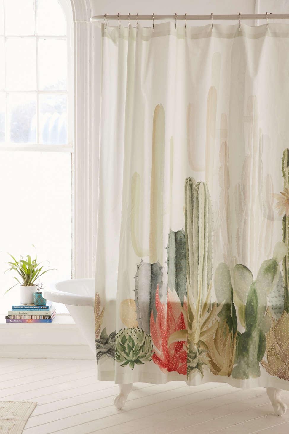 Slide View: 1: Cactus Landscape Shower Curtain