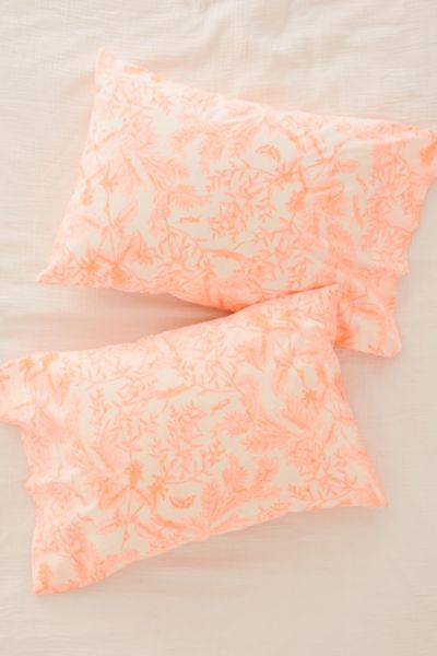 Delicate Botanical Pillowcase Set - Orange One Size at Urban Outfitters