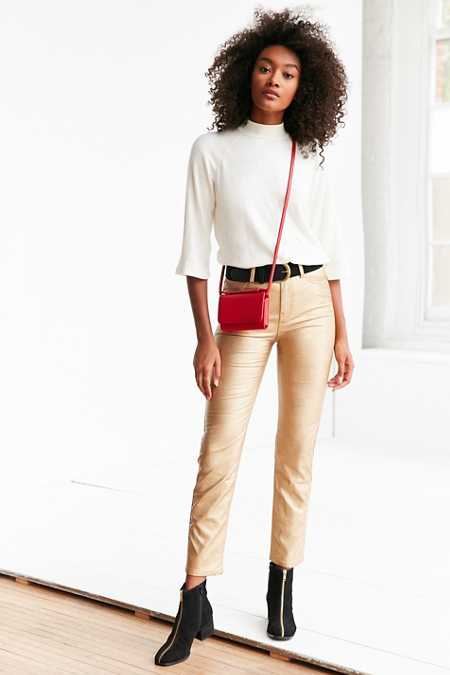 BDG Girlfriend Vegan Leather Pant - Gold