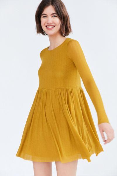 Kimchi Blue Vidal Cozy Long-Sleeve Babydoll Mini Dress
