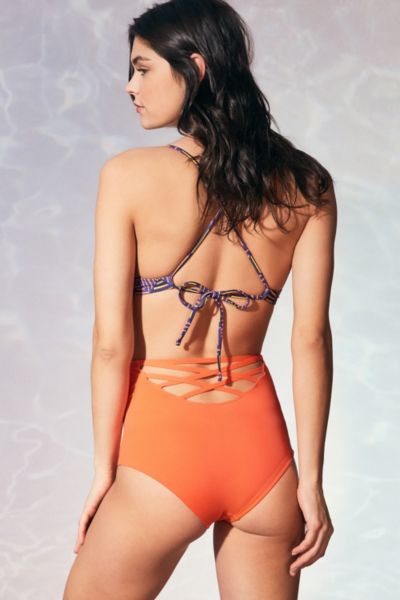 Out From Under Strappy Back High-Waisted Bikini Bottom - Coral S at Urban Outfitters