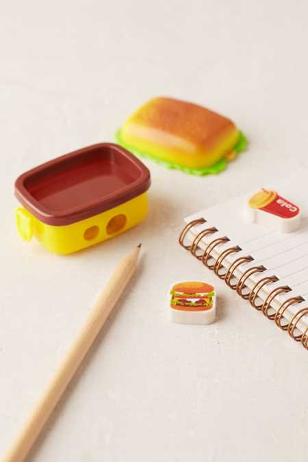 Burger Box Pencil Sharpener + Eraser Set