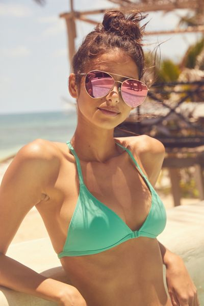 Out From Under Triangle Racerback Bikini Top - Green S at Urban Outfitters