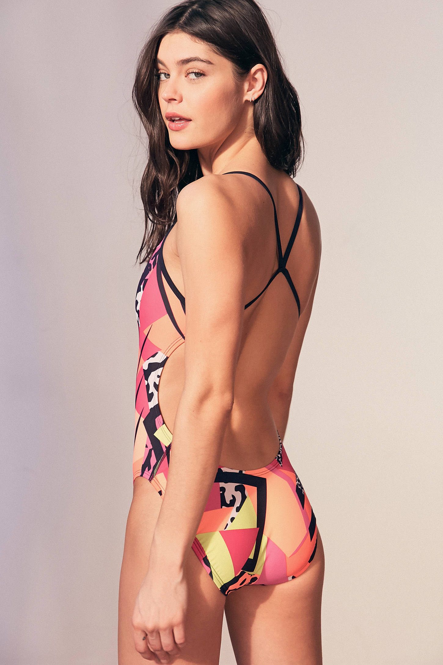 Slide View: 2: Nike Retro Poly Core One-Piece Swimsuit