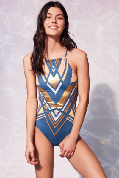 Out From Under Printed High Neck One-Piece Swimsuit - Teal S at Urban Outfitters