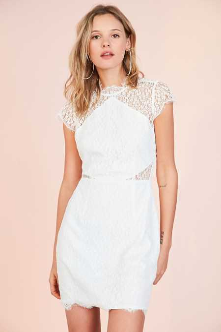 Keepsake Daydream Lace Mock Neck Mini Dress