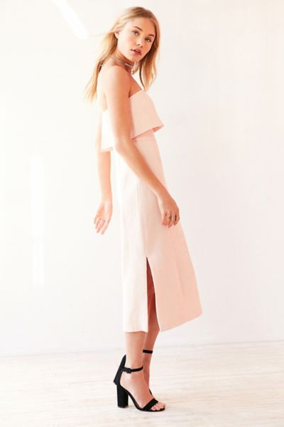 C/meo Collective Love Strapless Ruffle Midi Dress