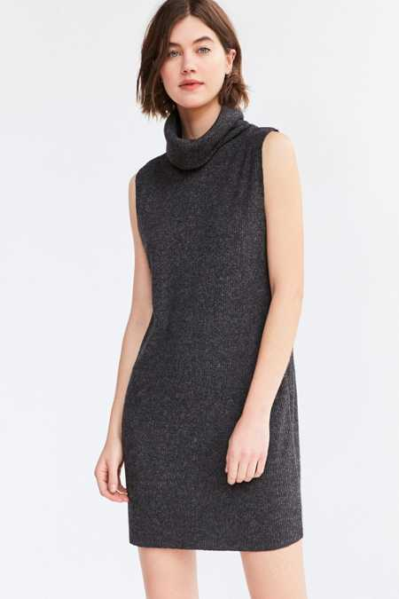 Silence + Noise Sage Cozy Turtleneck Mini Dress