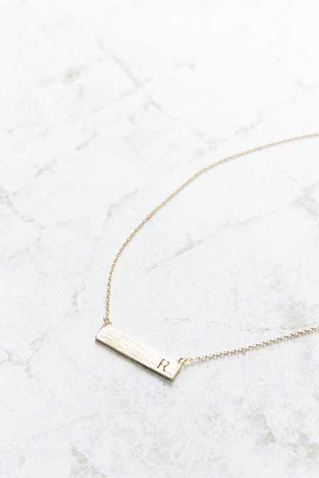 Slide View: 2: Initial Bar Necklace