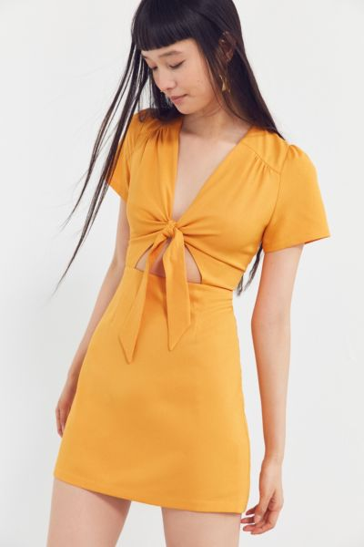 Kimchi Blue Bow-Front Cut-Out A-Line Mini Dress - Orange 2 at Urban Outfitters