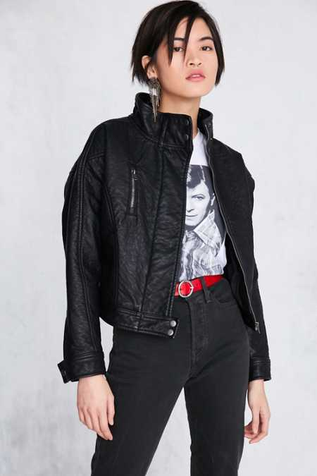 Silence + Noise Etienne Pebbled Vegan Leather Jacket
