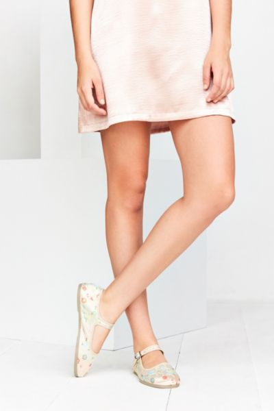 Satin Jacquard Mary Jane Flat - White 6. at Urban Outfitters