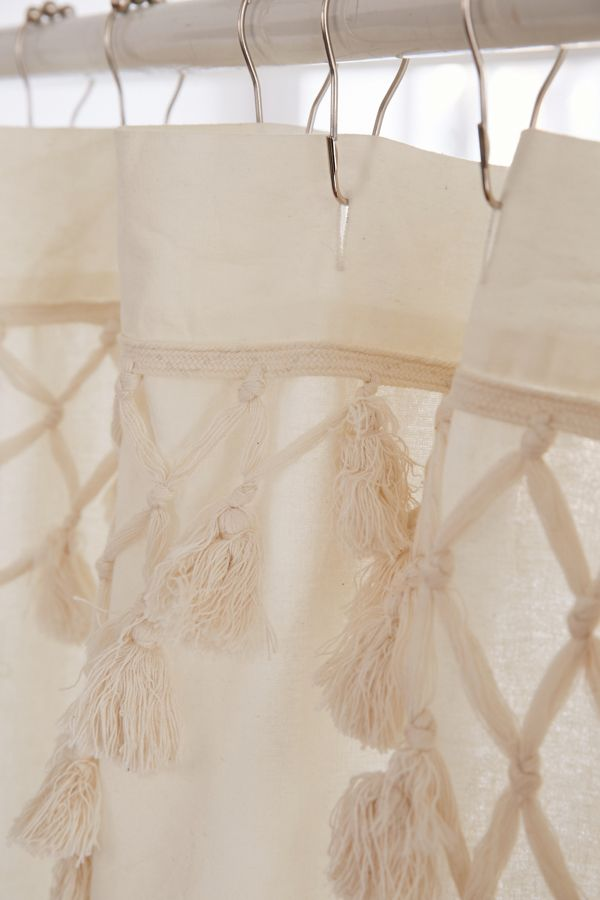 beige and white shower curtain. Slide View  2 Topanga Fringe Shower Curtain Urban Outfitters