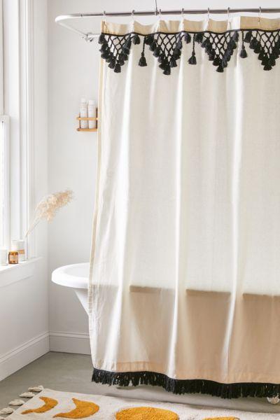 Urban Outfitters Topanga Fringe Shower, Black And Cream Shower Curtain
