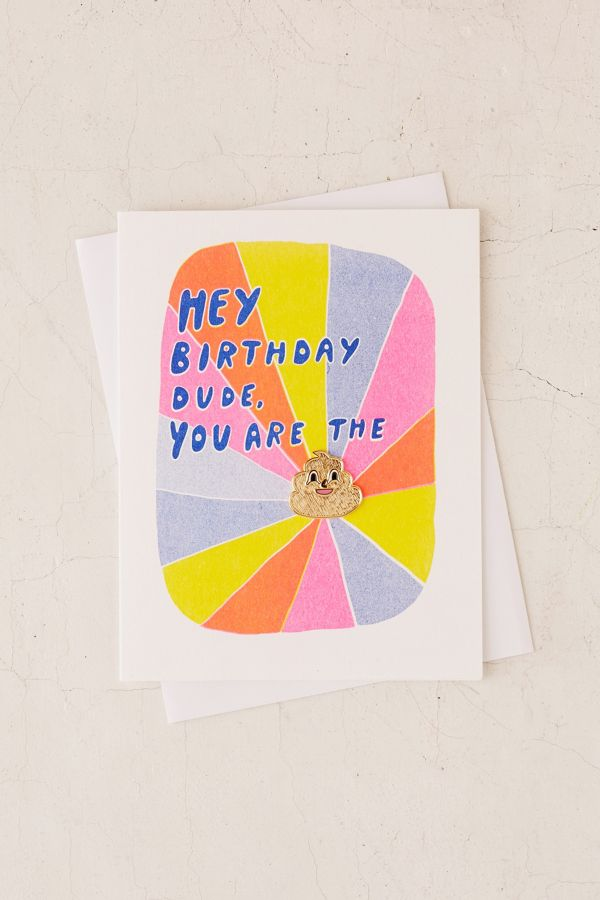 Yellow Owl Workshop Dude Lapel Pin Birthday Card Urban Outfitters