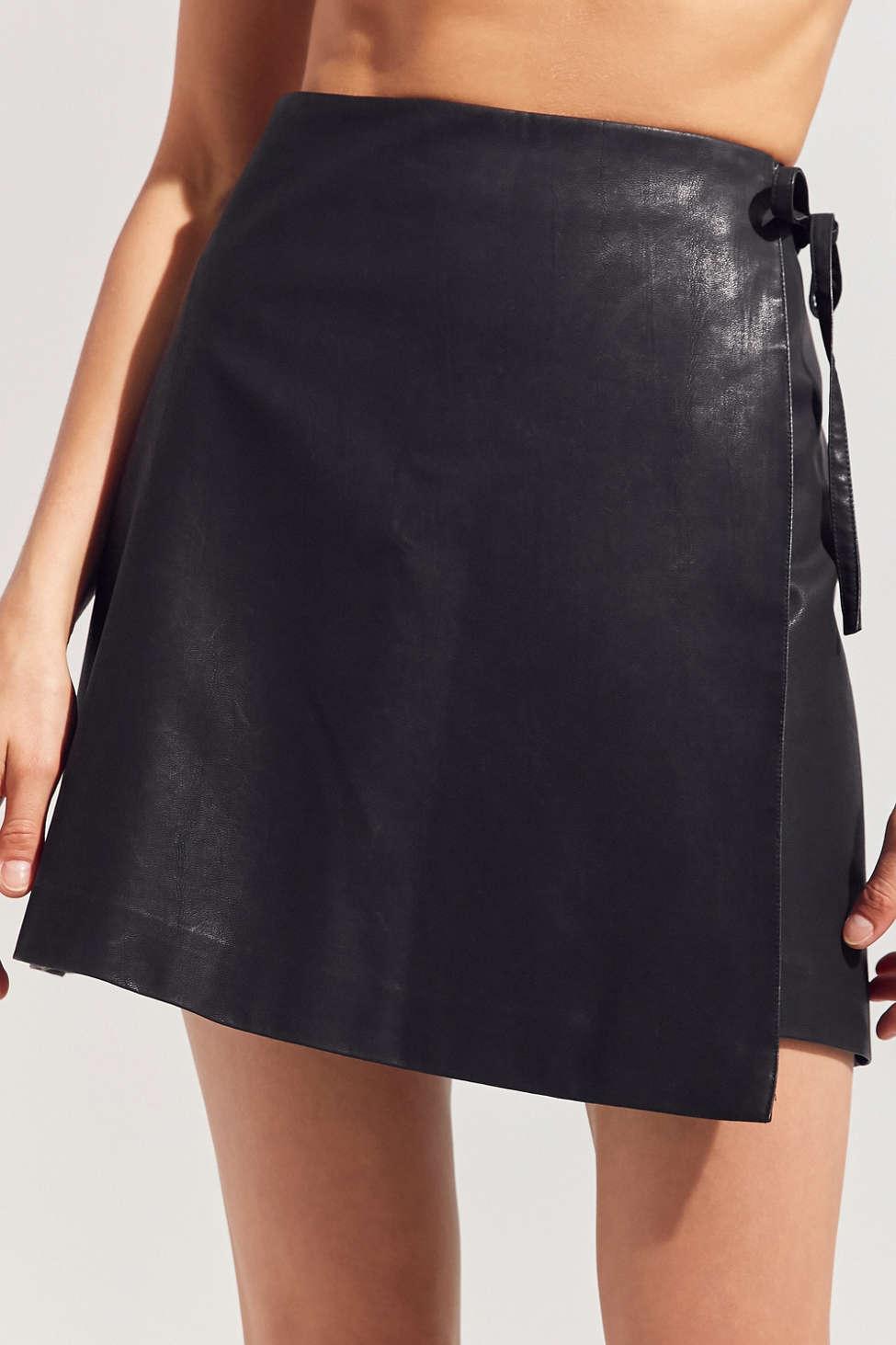 Silence   Noise Faux Leather Asymmetrical Mini Wrap Skirt | Urban ...
