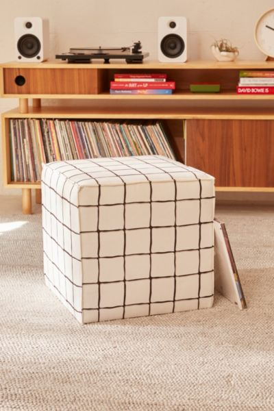 Wonky Grid Ottoman - White One Size at Urban Outfitters