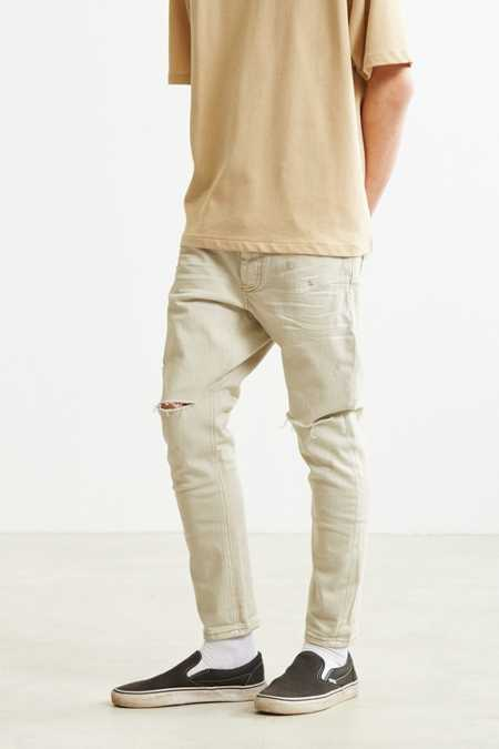 One Teaspoon Ecru Knee Slash Tapered Jean