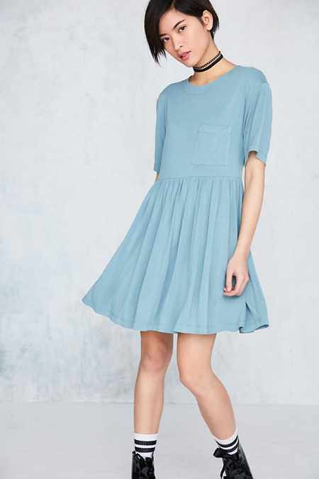 Silence + Noise Cupro Babydoll Mini T-Shirt Dress