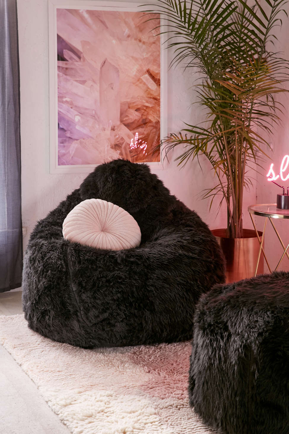 Slide View: 1: Aspyn Faux Fur Shag Bean Bag Chair