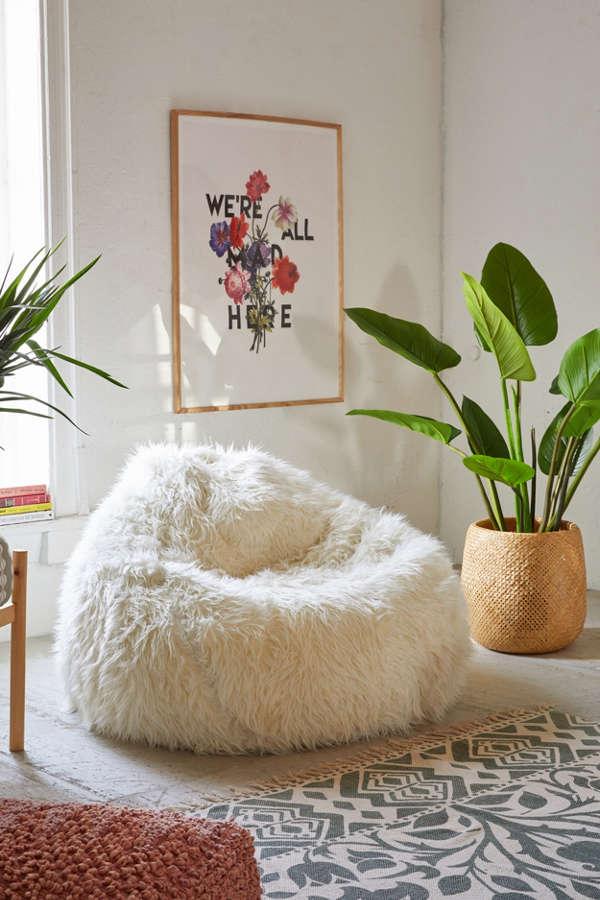 Aspyn Faux Fur Shag Bean Bag Chair Urban Outfitters