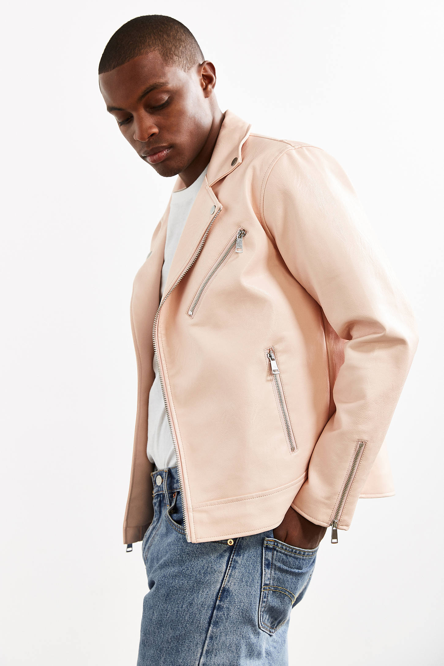 UO Pink Faux Leather Moto Jacket   Urban Outfitters