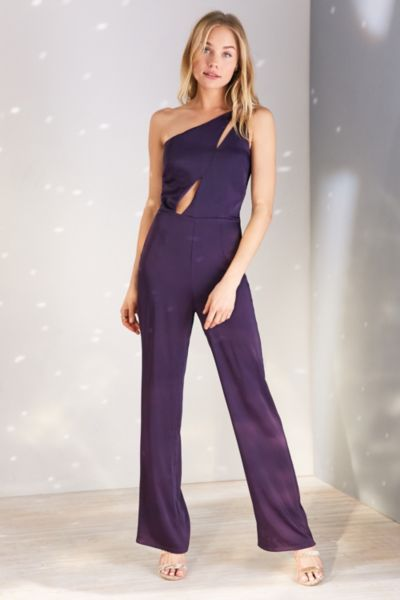 Oh My Love Sisyrinchium Satin One-Shoulder Jumpsuit