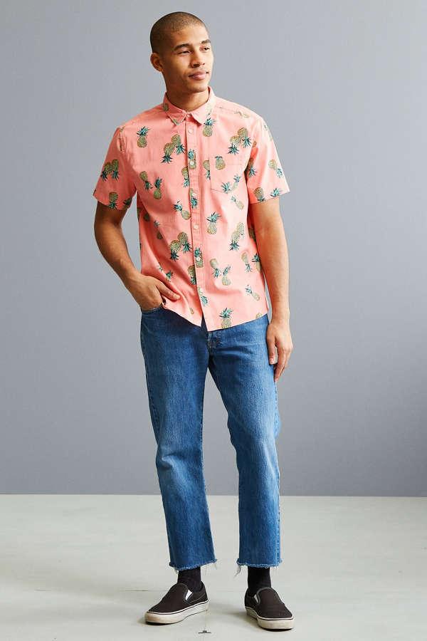 UO Pineapple Toss Short Sleeve Button-Down Shirt   Urban Outfitters