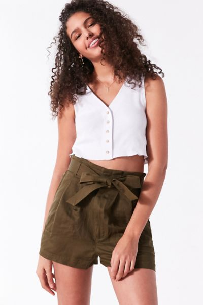 BDG Paperbag High-Rise Short - Dark Green XS at Urban Outfitters
