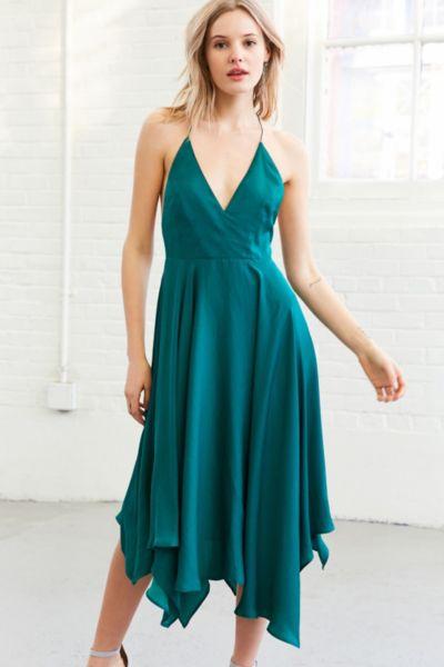 Kimchi Blue Vida Satin Handkerchief Midi Dress