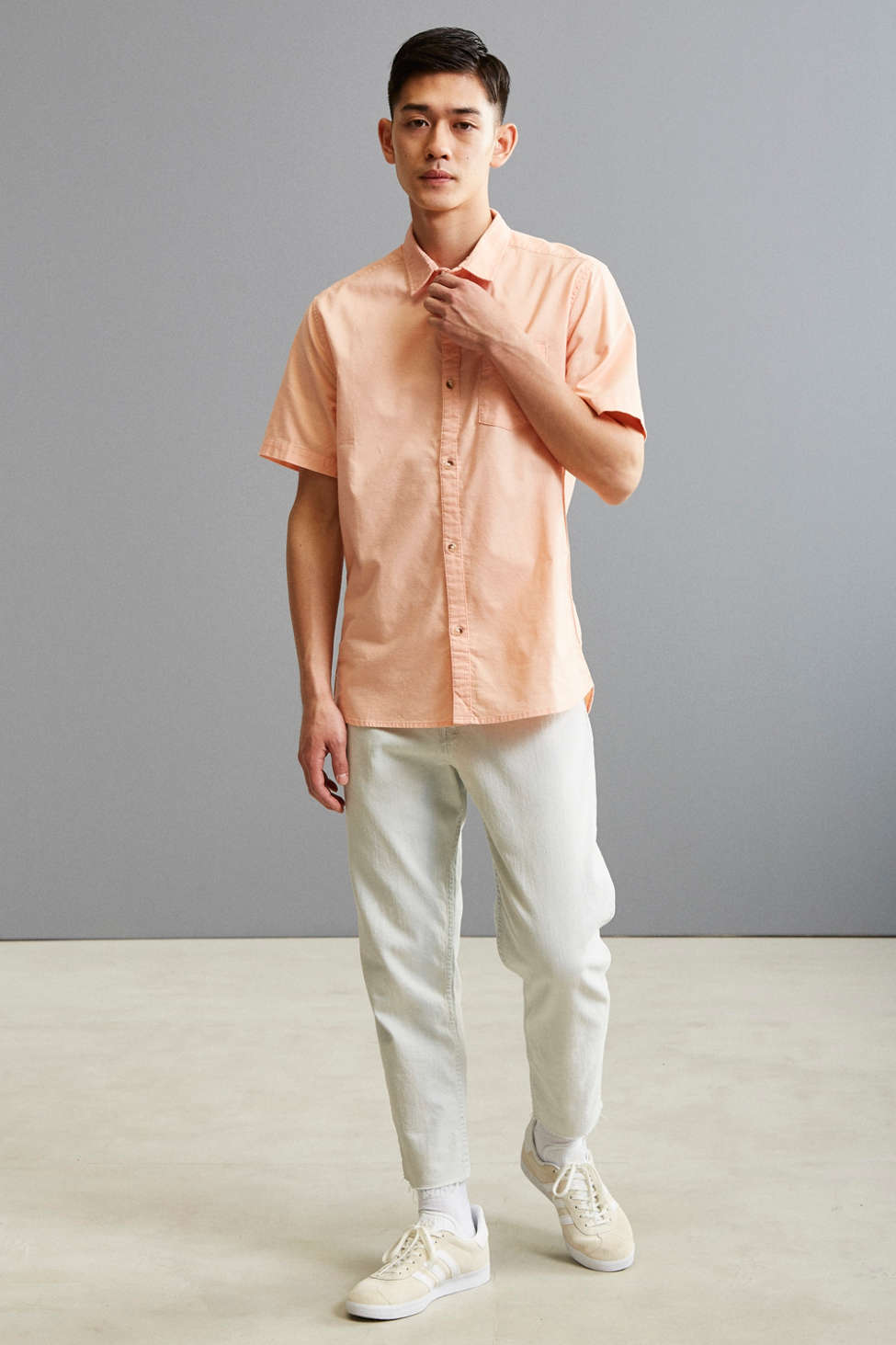 UO Solid Short Sleeve Button-Down Shirt | Urban Outfitters