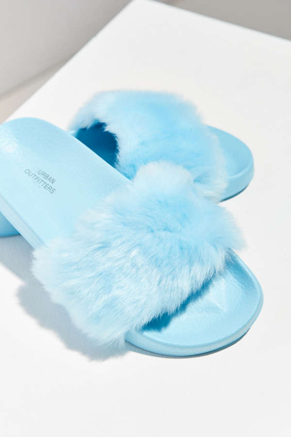 Uo Faux Fur Pool Slide Urban Outfitters