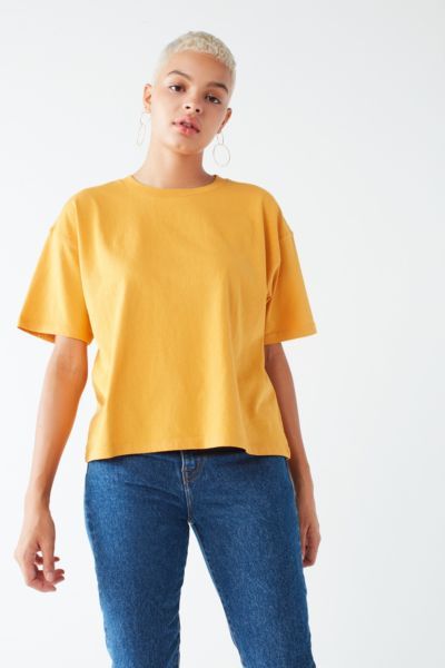 BDG Boston Oversized Ringer Tee - Mustard XS at Urban Outfitters