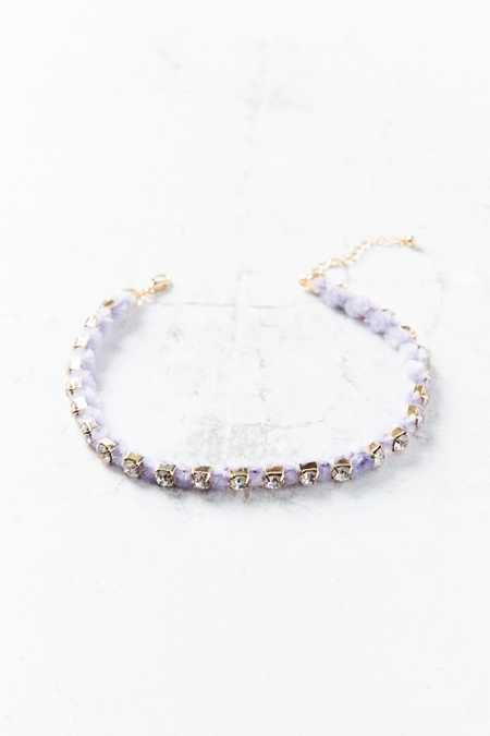 Kit Rhinestone Velvet Fuzz Choker Necklace