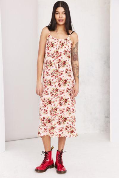 Ecote Shirred Gauze Midi Slip Dress