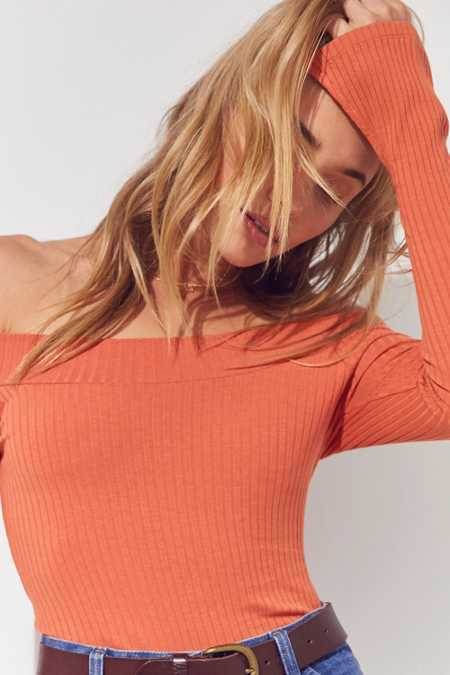 Silence + Noise Ribbed Off-The-Shoulder Top