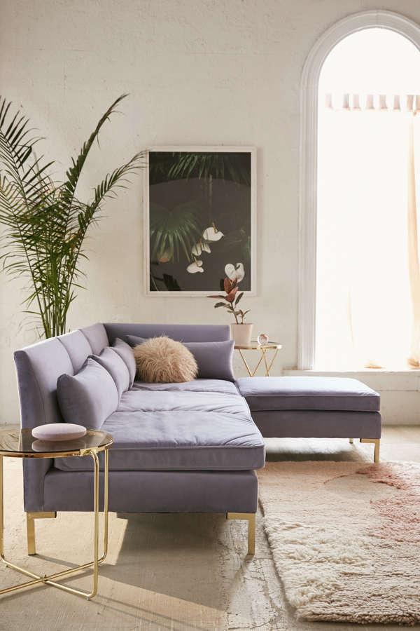 Slide View: 1: Cecilia Velvet Sectional Sofa