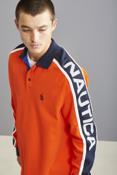 Nautica Jersey Long Sleeve Polo Shirt - Red L at Urban Outfitters