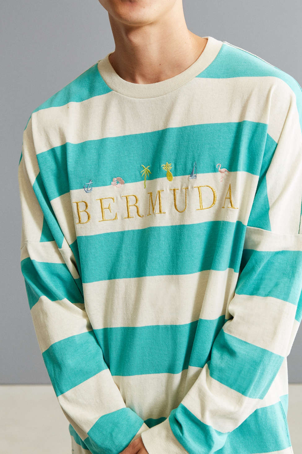 UO Embroidered Bermuda Stripe Long Sleeve Tee | Urban Outfitters