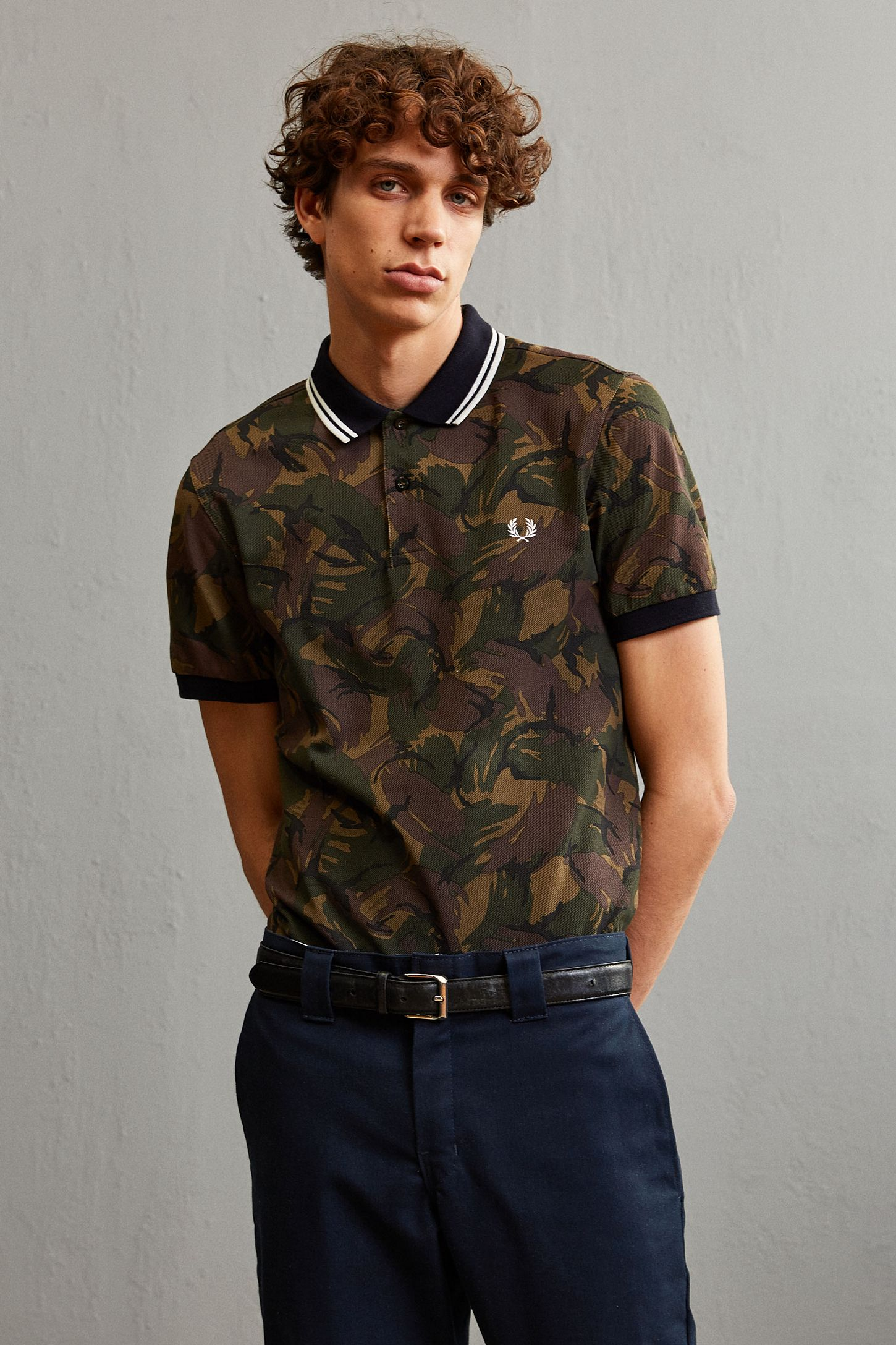 Fred Perry Camouflage Pique Polo Shirt Urban Outfitters