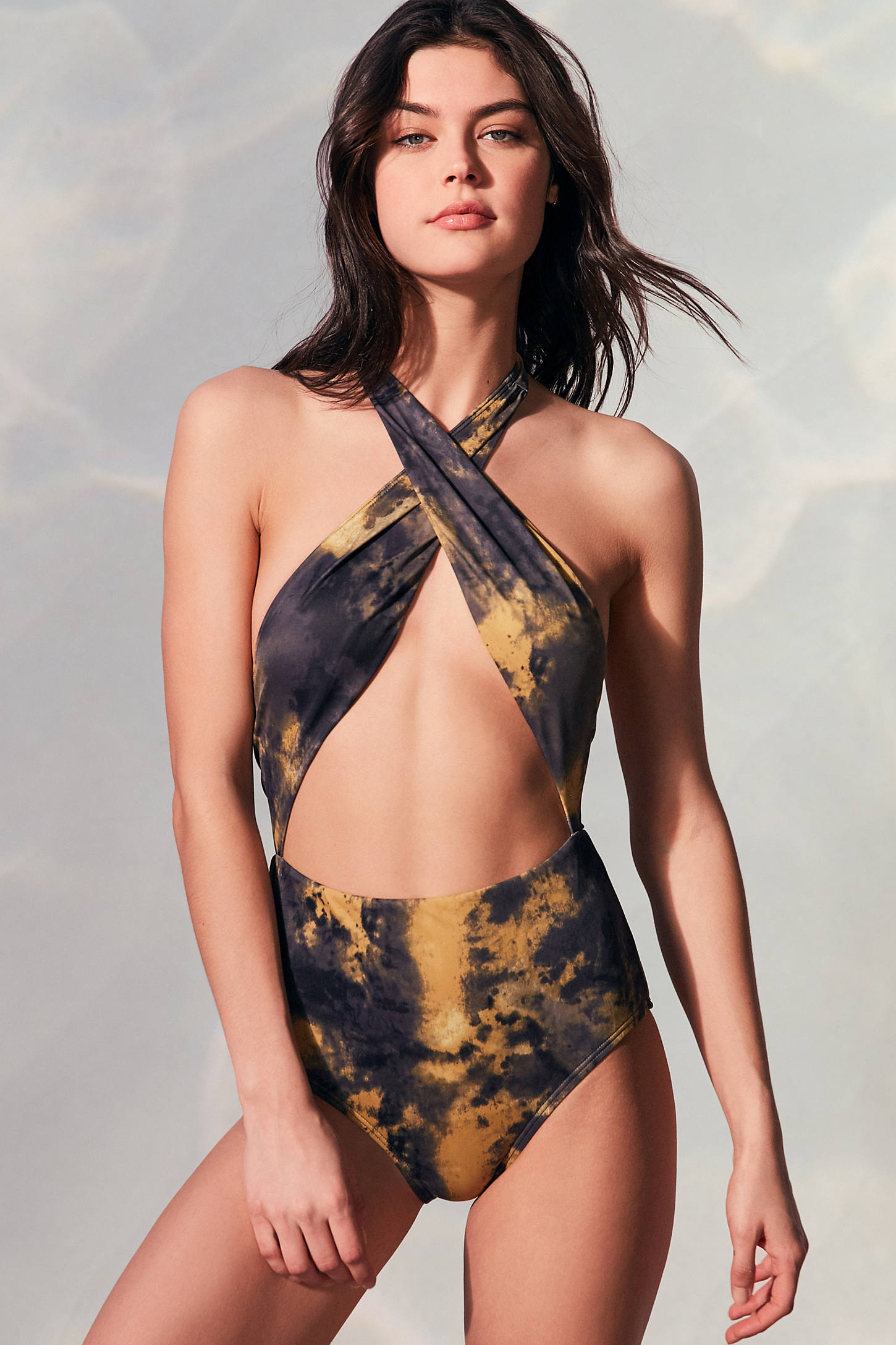 Slide View: 1: Out From Under Rachel Crossover One-Piece Swimsuit
