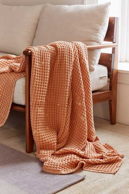 Distressed Waffle Throw Blanket - Peach