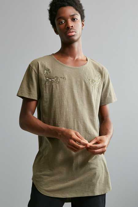 Embroidered Long Loose Scoopneck Tee