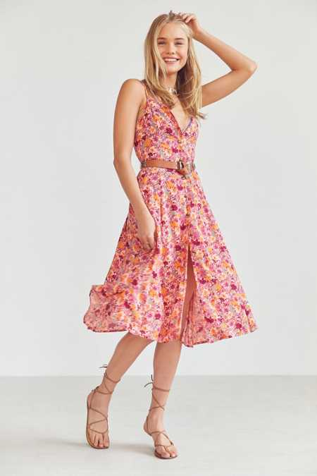 Kimchi Blue Graziano Floral Button-Down Midi Slip Dress