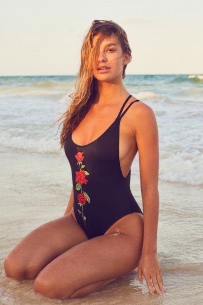 Out From Under Printed Scoop Back One-Piece Swimsuit - Black S at Urban Outfitters