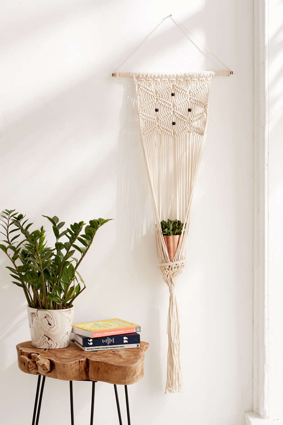 Slide View: 1: Macrame Hanging Wall Planter
