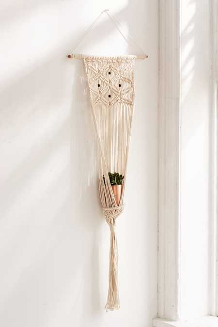 Slide View: 2: Small Macramé Hanging Wall Planter