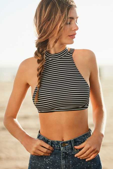 Out From Under Printed Mock Neck Bikini Top