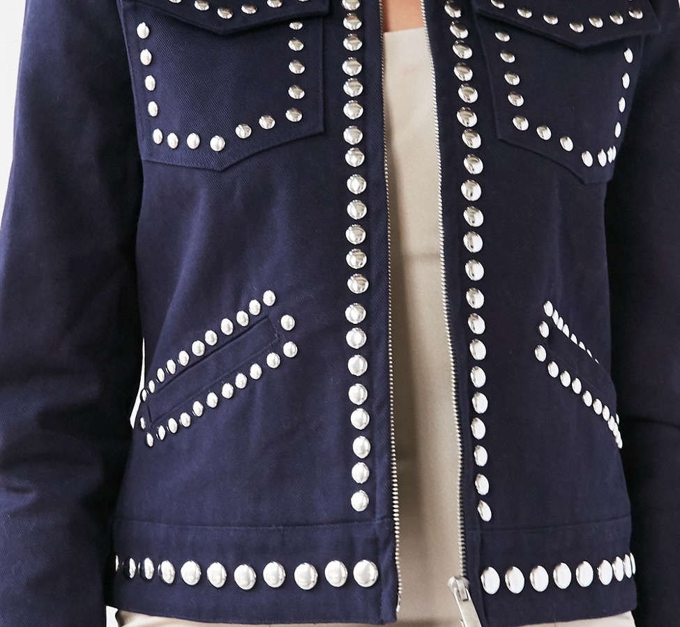 Slide View: 3: Ecote Studded Zip-Up Jacket