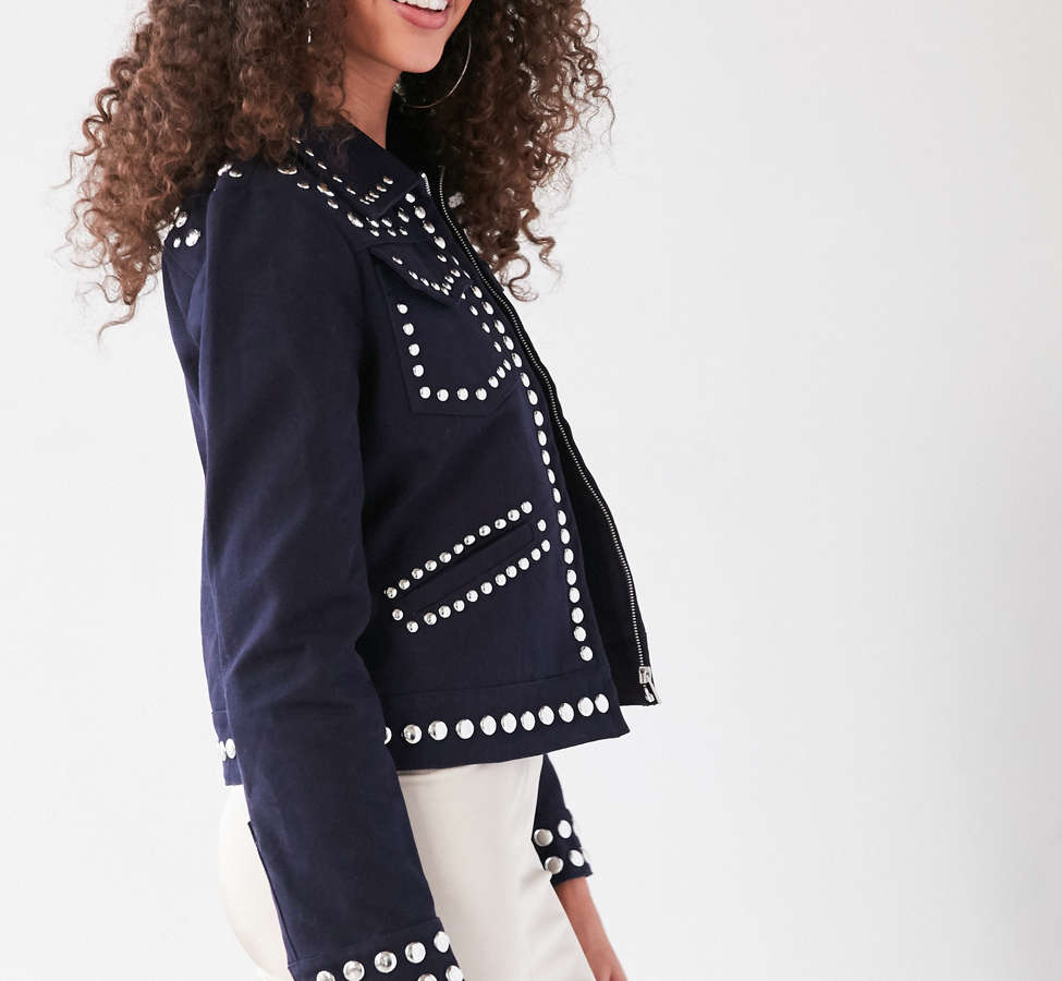 Slide View: 4: Ecote Studded Zip-Up Jacket